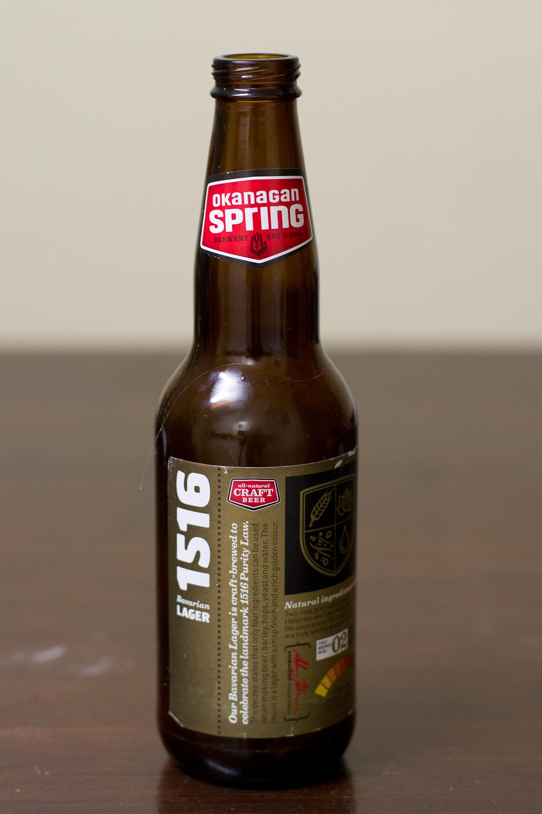 Okanagan Spring Brewery 1516 Lager Beer Me British
