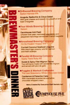 Pumphouse Pub Craft Beer Week Brewmaster's Dinner Menu