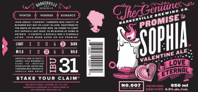 Barkerville Brewing Releases Promise to Sophia Valentines Ale