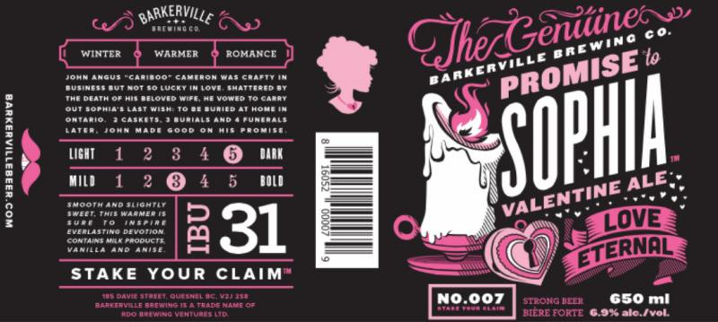 Barkerville Brewing Sofia Valentines Ale