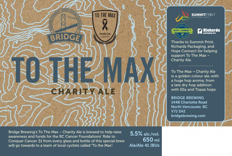 Bridge Brewing To The Max Charity Ale Label