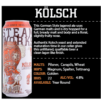 Steamworks Kolsch Tall cans