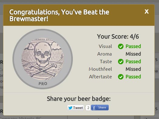 Beat The Brewmaster - Pro Level Achievement