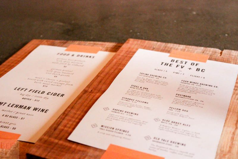 Fieldhouse Brewing Brewery Menu
