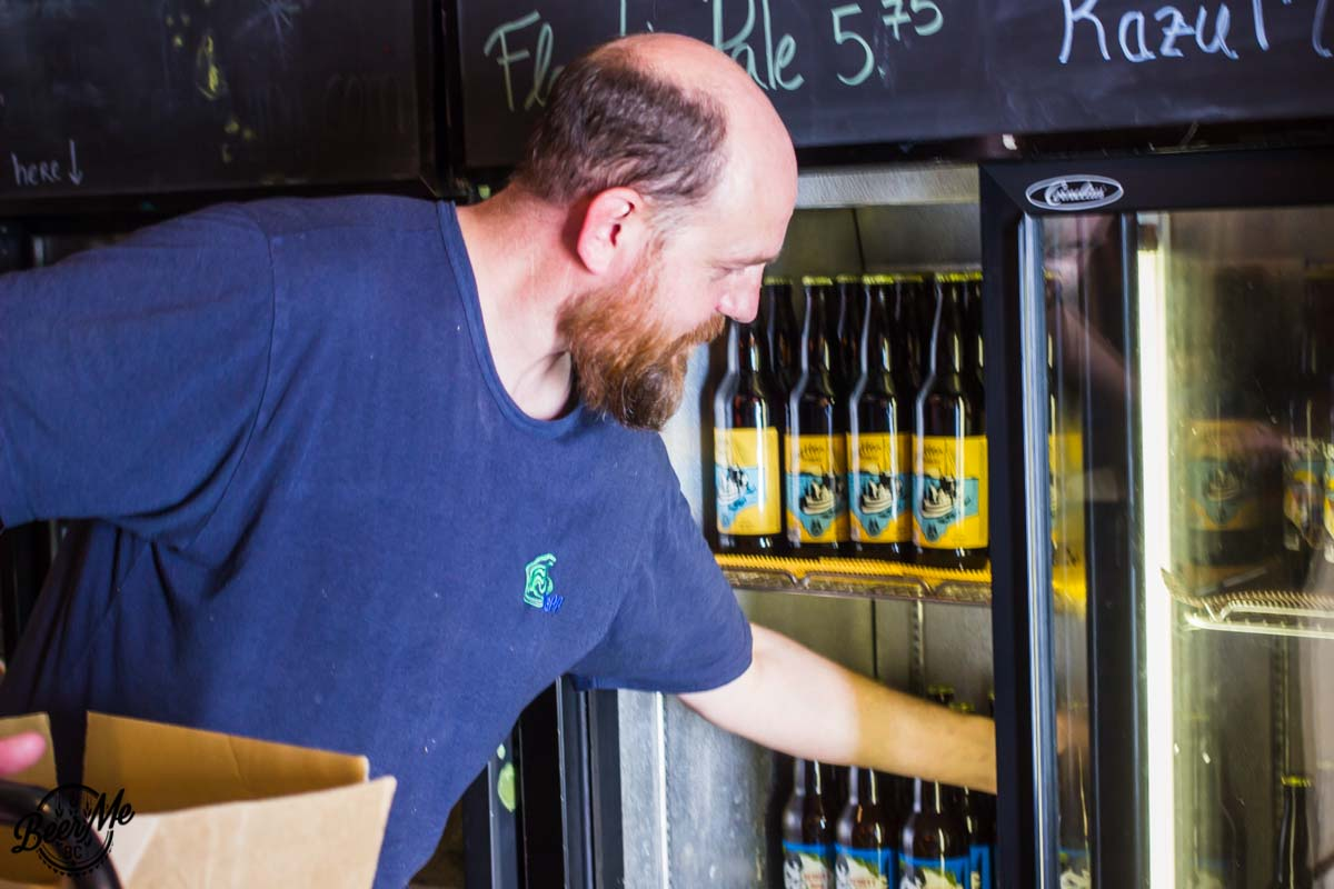Wheelhouse Brewing Craig Stocking Shelves