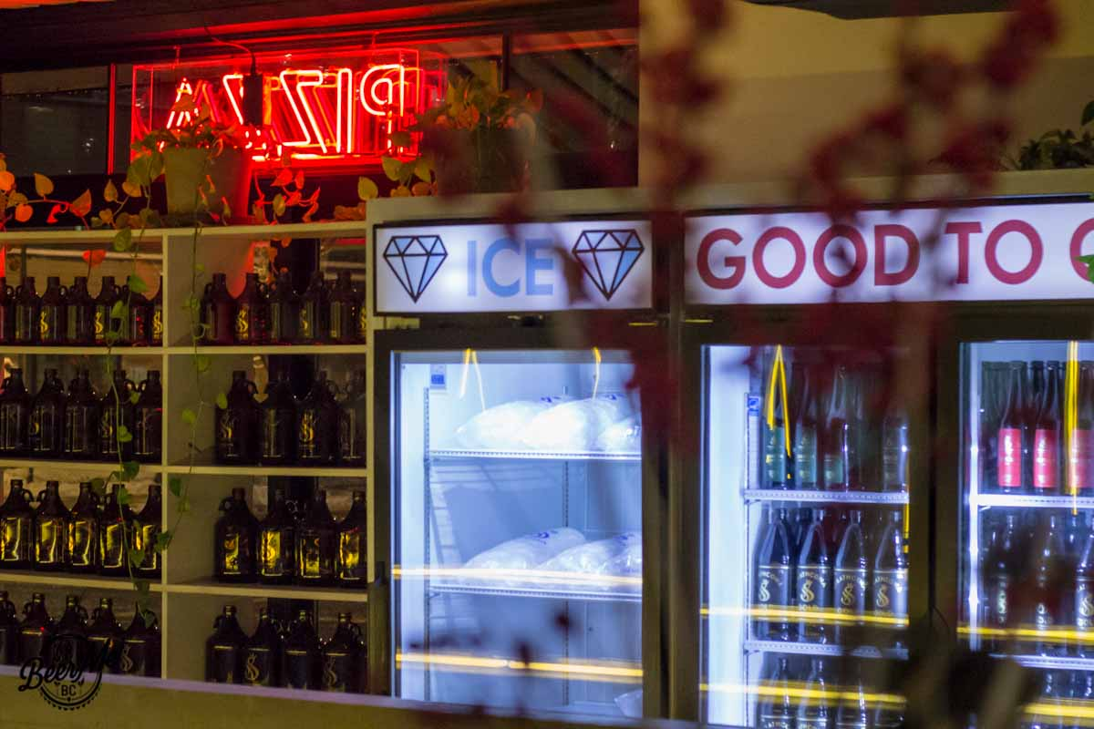 Strathcona Brewing Cooler and Neon Sign