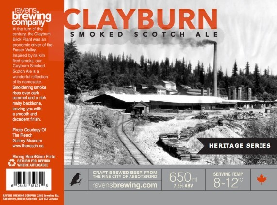 Ravens Brewing Company Clayburn Smoked Scotch Ale Label
